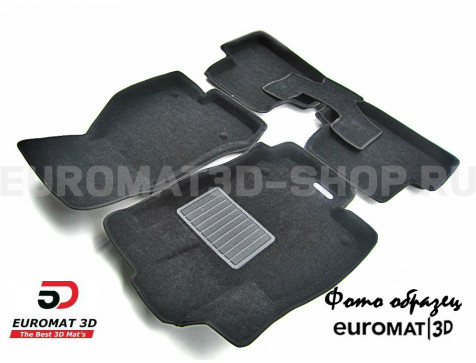 Текстильные 3D коврики Euromat3D Business в салон для Cadillac CTS (2007-2014) (4WD) № EMC3D-001305